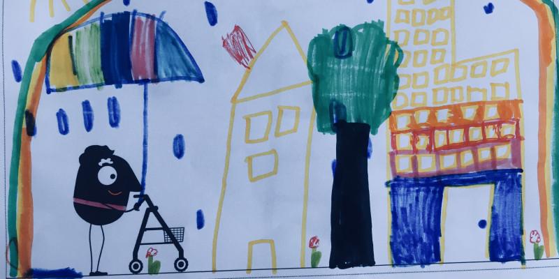 Bild einer Stadt gemalt von einem Kind