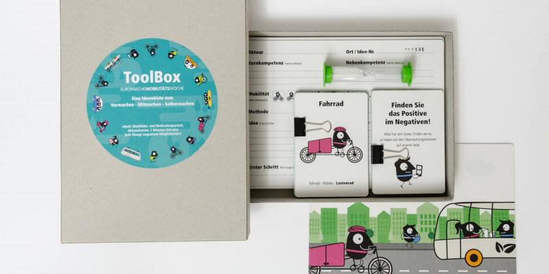 EMW Toolbox bestehend aus Karten und Sanduhr