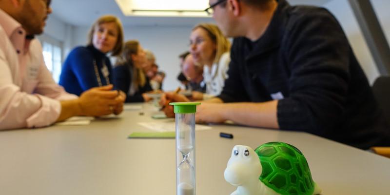 Quietscheschildkröte wurde als Zeitstopper im Workshop verwendet