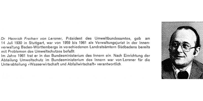 1. Präsident des Umweltbundesamtes Dr. v. Lersner