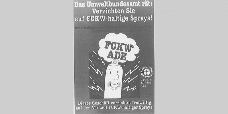 Plakat des UBA zum freiwilligen Verzicht auf FCKW-haltige Sprays