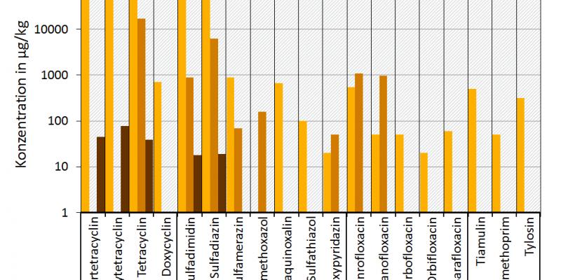 Die Abbildung zeigt gemessene Antibiotikarückstände in Gülle, Gärresten und Böden aus den Antibiotikagruppen Tetrazykline, Sulfonamide, Fluorchinolone und anderen. Die Angaben für Gülle (Schwein oder Geflügel), Gärreste (Mischproben mit Gülleaneil) und Boden und beziehen sich auf μg/kg Trockensubstanz. Dargestellt sind jeweils Maximalwerte der gemessenen Antibiotikakonzentrationen. Die Daten wurden aus verschiedenen Forschungsvorhaben zusammengestellt. Quellen: Hannappel et al. (2017), Hembrock-Heger et al.