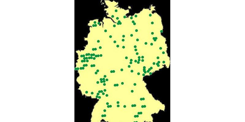 Erhebungsorte für Umwelt-Survey 1990/92 als Punkte auf der Deutschlandkarte