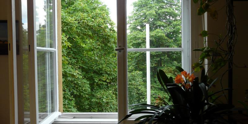 geöffnetes Fenster im Altbau