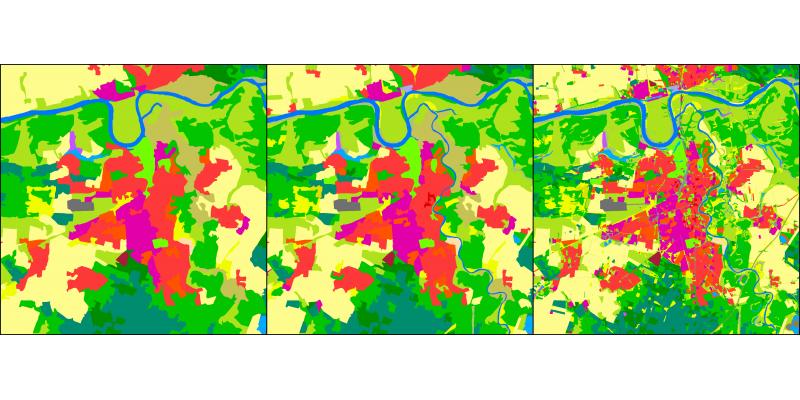 CLC2012 für Dessau-Roßlau in 25 ha, 10 ha und 1 ha Mindestkartiereinheiten