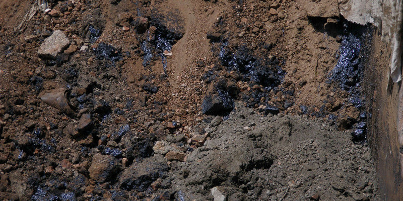 Soil contamination on the site of a gas works.