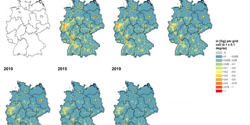 Deutschlandkarte Luftschadtstoffbelastung Staub und Feinstaub (PM2,5)