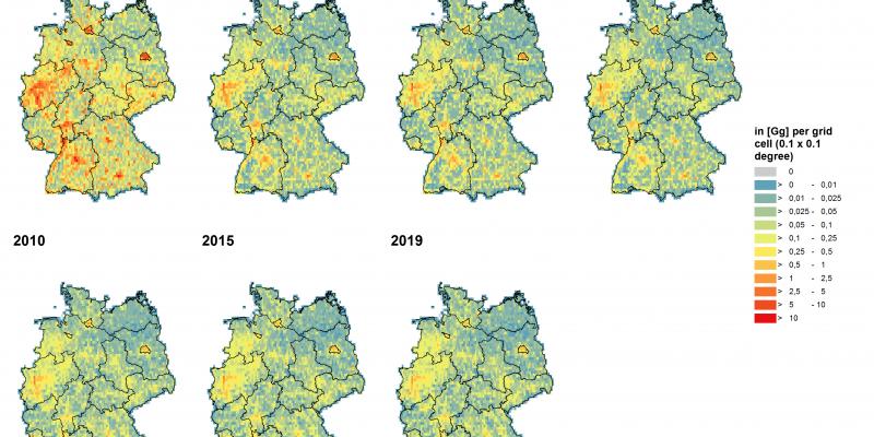 Deutschlandkarte Luftschadstoffbelastung Gesamtstaub