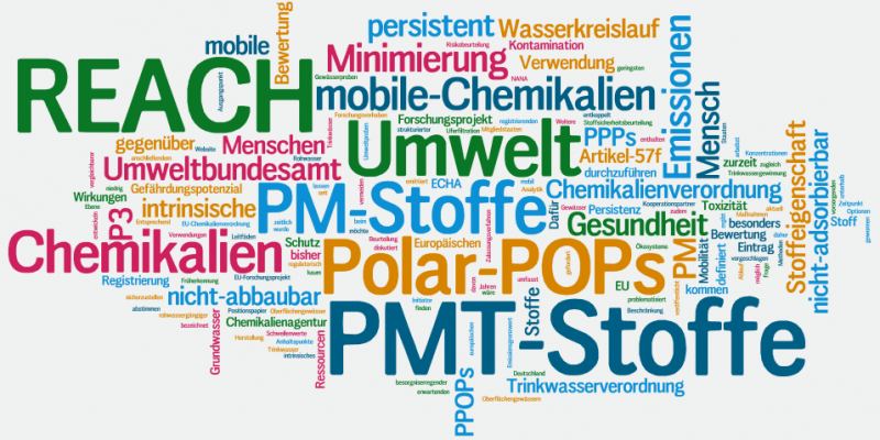 Visualisierung der Fachbegriffe rund um REACH und PMT-Stoffe als Wortwolke.