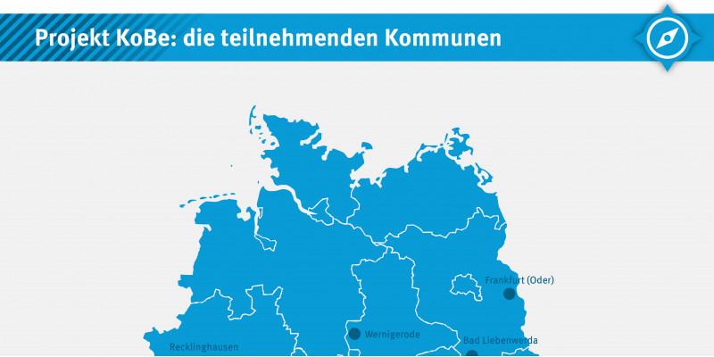 stilisierte Deutschlandkarte die teilnehmenden Kommunen Arnsberg, Bad Liebenwerda, Bamberg, Frankfurt/Oder, Landkreis Harz, Konstanz, Lohmar, Ludwigsburg, Offenbach am Main, Recklinghausen und Wolfhagen verzeichnet sind