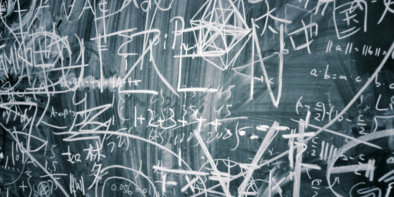 Blackboard with numerous notes.