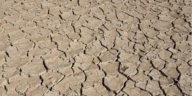 trockener aufgerissener Boden