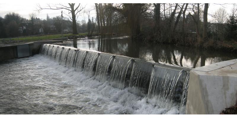 Die Wasserkraftanlage in Bad Sulza mit dem Wehr Bäume und Sträucher
