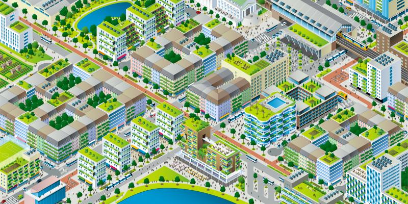 Das Bild zeigt die Graphik einer lärmarmen, grünen, kompakten und durchmischten Stadt.