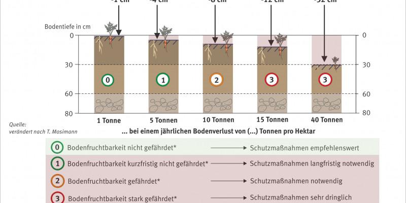 Schaubild zum Bodenverlust durch Bodenerosion durch Wasser.