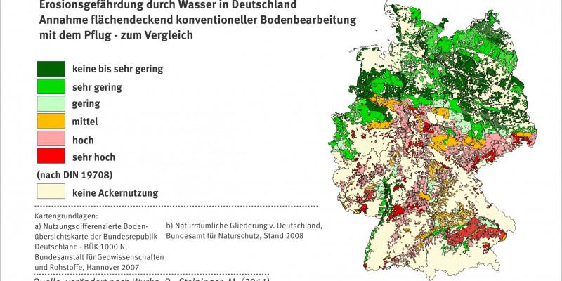 Schaubild zur Erosionsgefährdung - konventionelle Bearbeitung. Stand 2007.