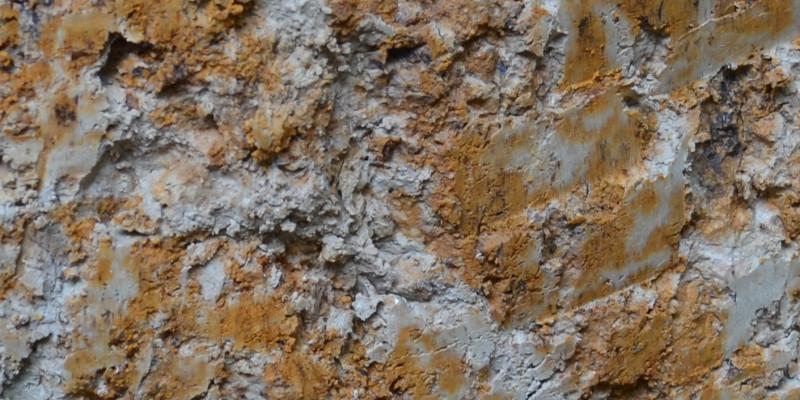 Detailfoto von gebleichten und rostfleckigen Bereichen im Bodenprofil
