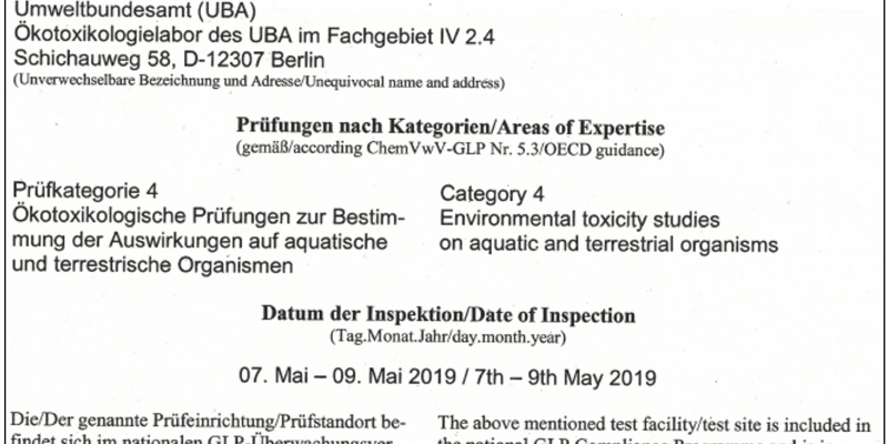 Eine Bescheinigung, die aussagt, dass das Ökotoxikologielabor des Umweltbundesamtes die Richlinien der Guten Laborpraxis einhält.