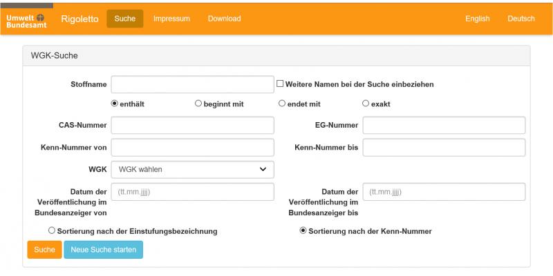 Screenshot der Datenbank