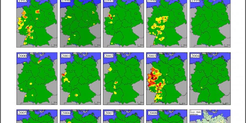 Historische Karten: Ozonüberschreitungen von 240 µg pro m3 1990-2008