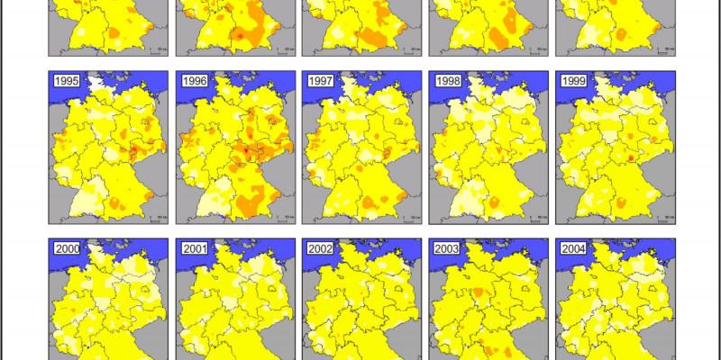 Entwicklung Luftqualität / Historische Karten / PM10-Jahresmittelwerte 1985-2008