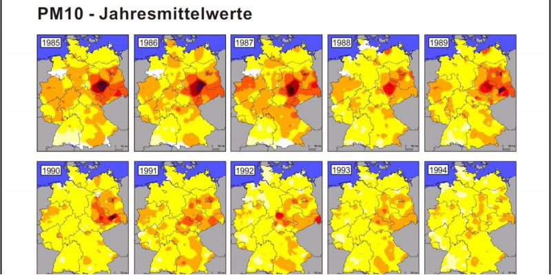Historische Karte Feinstaub - PM10 Jahresmittelwerte 1985-2008