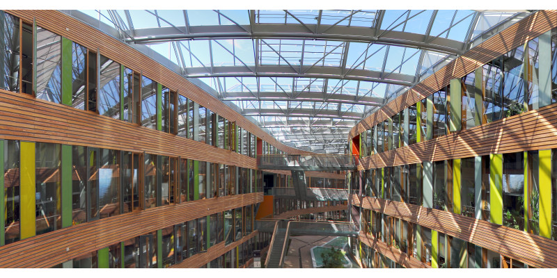look into the inside courtyard with its glass roof