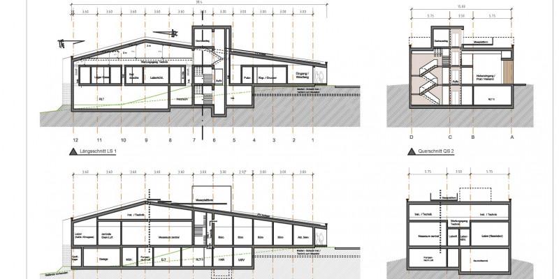 Technischer Plan, Schnitte zeigen, wie das neue Gebäude aufgebaut sein wird. Es besteht aus einem Teilkeller, einem Erdgeschoss und einem Dachgeschoss, auf dem Dach befindet sich eine Messplattform. In den Räumen sind Büros, Labor- und Technikräume untergebracht. Es gibt einen Aufzug und ein Treppenhaus.