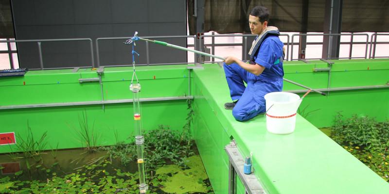 ein junger Mann in einer blauen Arbeitshose entnimmt vom Beckenrand eine Wasserprobe mit einem langen durchsichtigen Gefäß, das an einer Art Angel befestigt ist
