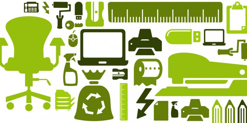 grüne Piktogramme von Gegenständen wie Monitor, Bürostuhl, Toilettenpapier