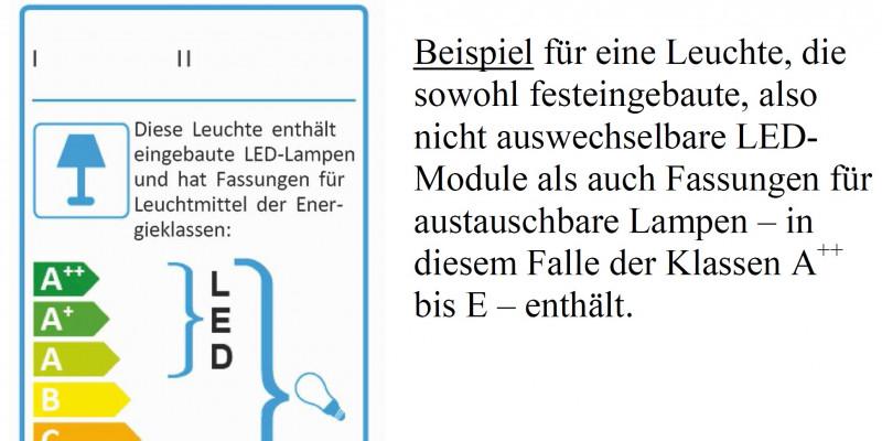 Energieaufkleber für eine Leuchte, die sowohl festeingebaute, also nicht auswechselbare Leuchtdiodenmodule als auch Fassungen für austauschbare Lampen enthält.