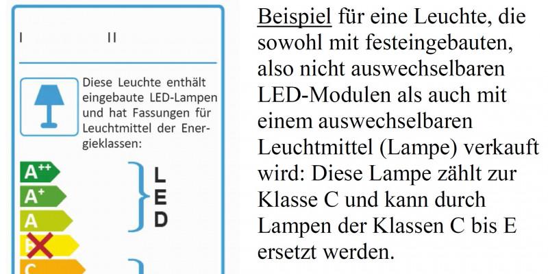 Energieaufkleber für eine Leuchte, die sowohl mit festeingebauten, also nicht auswechselbaren Leuchtdiodenmodulen als auch mit einem auswechselbaren Leuchtmittel (Lampe) verkauft wird: Diese Lampe zählt zur Klasse C und kann durch Lampen der Klassen C bis