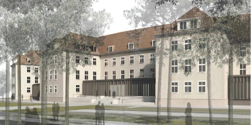 Computersimulation des Altbaus mit drei normalen Stockwerken und einem ausgebauten Dachgeschoss mit Gaubenfenstern.
