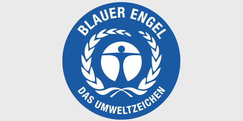 Das Umweltzeichen Blauer Engel mit einem stilisierten Menschen