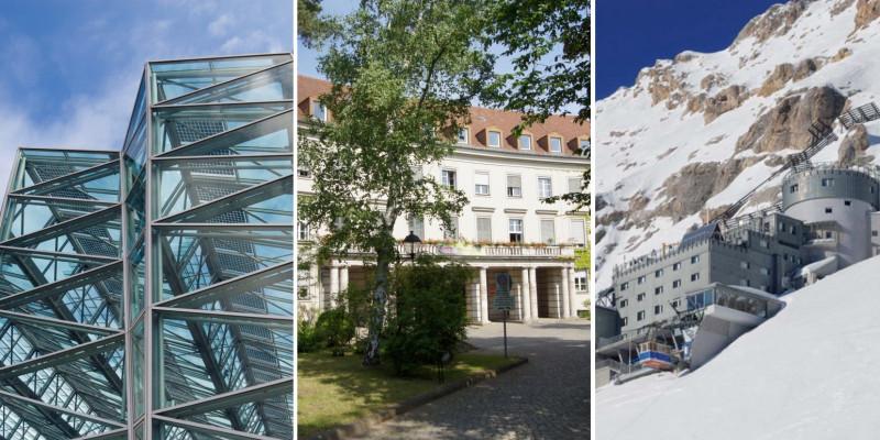 Collage aus 3 Gebäuden: Moderner Glasbau, Altbau im Grünen und Bergstation am schneebedeckten Berghang