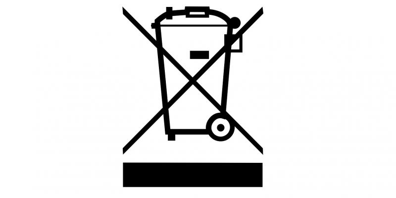 Piktogramm einer durchgestrichenen Mülltonne