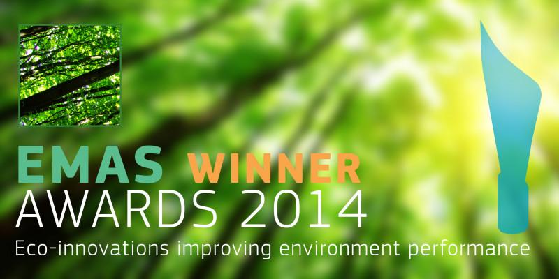 """""""EMAS Winner Awards 2014"""", im Hintergrund ein grüner Wald"""