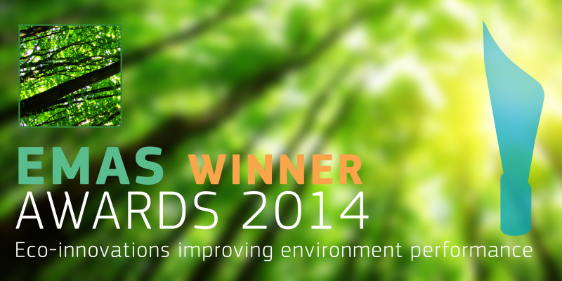 """EMAS Winner Awards 2014"", in the background a green forest"
