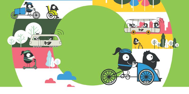 Comic-Figuren mit und ohne Maske sind per Fahrrad, Roller, Rollstuhl, Tram, Bus oder zu Fuß mit Rollator unterwegs.