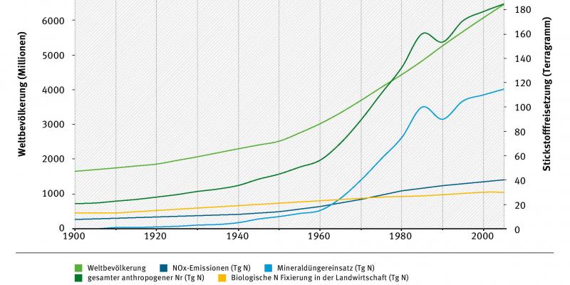"""Die Kurven """"Weltbevölkerung"""", """"gesamter anthropogener Nr (Tg N) und """"Mineraldüngereinsatz (Tg N) steigen seit dem Jahr 1960 stark an. Die Kurven """"NOx-Emissionen (Tg N)"""" und """"Biologische Fixierung in der Landwirtschaft (Tg N)"""" steigen nur leicht."""