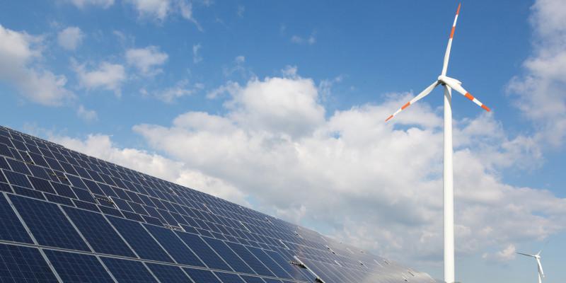 wind turbine and solar panel