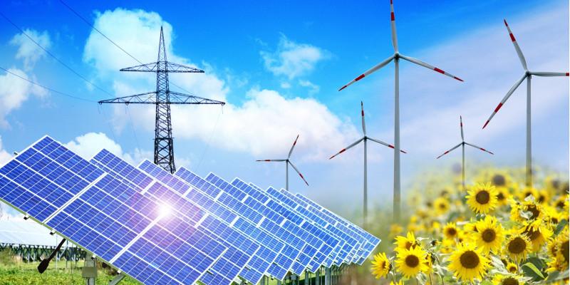 solar park, wind energy plants, sun flowers