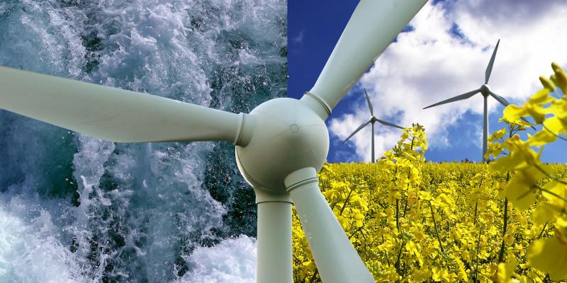 Collage: Wasserkraft, Windenergie, Rapsfeld