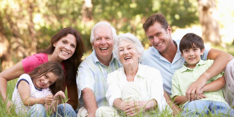 Oma, Opa,, Mutter, Vater, Sohn und Tochter sitzen im Park auf einer Wiese für ein Gruppenfoto zusammen.