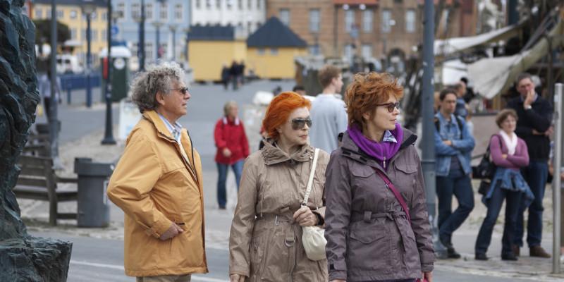 pedestrians in a city