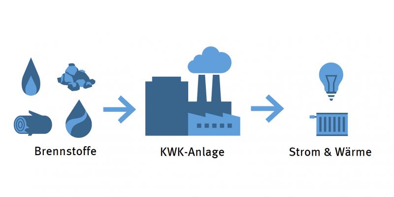 Infografik: aus Brennstoffen entstehen in einer KWK-Anlage Strom und Wärme.
