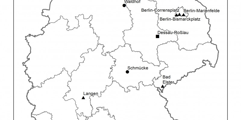 Map of Germany with tagged UBA sites