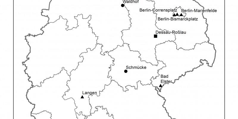 Deutschlandkarte mit den eingezeichneten Standorten des UBA