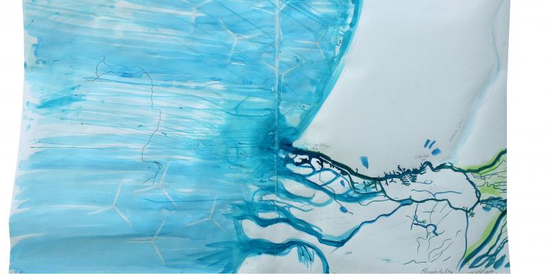 blaues Aquarell auf weißem Grund