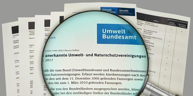 """mehrere A4-Blätter, darauf eine Lupe, zu lesen ist """"Umweltbundesamt: anerkannte Umwelt- und Naturschutzvereinigungen"""""""